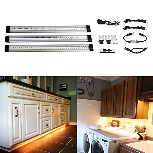 S&G 3000K(Warm White) Dimmable LED Under Cabinet Light Ultra Thin Under Counter Lighting 3pcs Panel Lights Included And Fixed With 3M Sticker Remote Control Buget-friendly (Cable Shelf Brackets Aluminium compare prices)