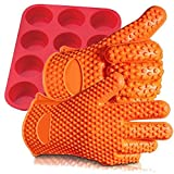 Silicone Gloves, Silicone Muffin Pan - 100% Pure Food Grade Non-Stick Silicone Non-stick Baking Pans for Cupcakes, 1 Pair Silicone Gloves (2 Gloves) 1 Silicone Muffin Pan Heat Resistant up to 450° Microwave & Dishwasher Safe,