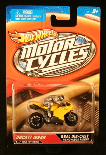 DUCATI 1098R (Yellow & Silver) * MOTORCYCLE & RIDER * Hot Wheels 1:64 Scale 2012 Die-Cast Vehicle