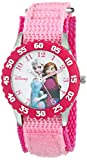 Disney Kids' W000969 Frozen Anna and Elsa Time Teacher Watch with Pink Nylon Band