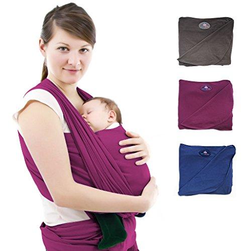 Nestglück - Premium Baby-Tragetuch für Neugeborene und Kleinkinder | Hochwertiges Umhängetuch aus Baumwolle | Elastisches Kindertragetuch mit deutschsprachiger Anleitung für Bindetechniken (Bordeaux)