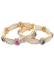Goonj The Rhythm Of Jewels Fancy CZ Bangles For Women B31 (Size 2.8)