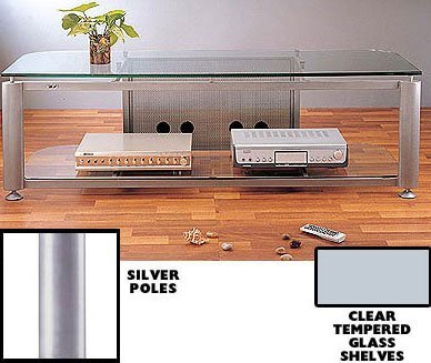 "HGR 60"" TV Stand Glass Color: Clear Glass, Poles/Caps: Silver"