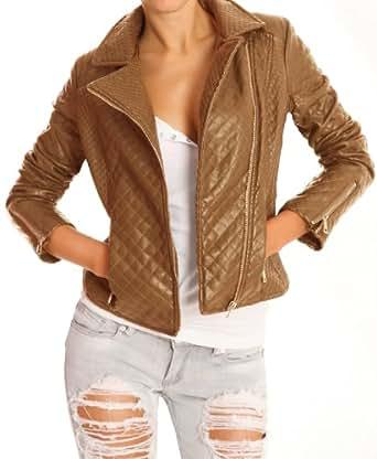 n.n. veste de motard pour femmes, veste de cuir syntéthique ja08p 42/XL camel
