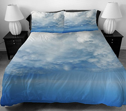 Anlye Girls Bedding For Girls Home Decorating Set 2 Sides Printing The White Clouds With Blue Sky Bed Sheet With 2 Pillow Cases Queen front-974003