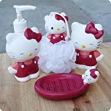 Kids Bathroom Set Soap Dispenser Dish Loofa Toothbrush Holder 002
