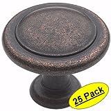 "Amerock BP1387-RBZ Rustic Bronze Reflections Round Cabinet Hardware Knob, 1-1/4"" Diameter - 25 Pack"