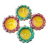 Store Utsav Diya Wax Terracotta Green And Pink - Set Of 4