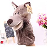Grey Wolf Hand Puppets Kids Toy Baby Stories Helper Christmas Gift For Kids Happy Birthday Gift 9.75 Inches