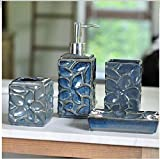 Bathroom Accessory Sets - Nordic style kiln dark blue gray ceramic bathroom four-pieces set / upscale glaze bathroom suite / gift box packaging