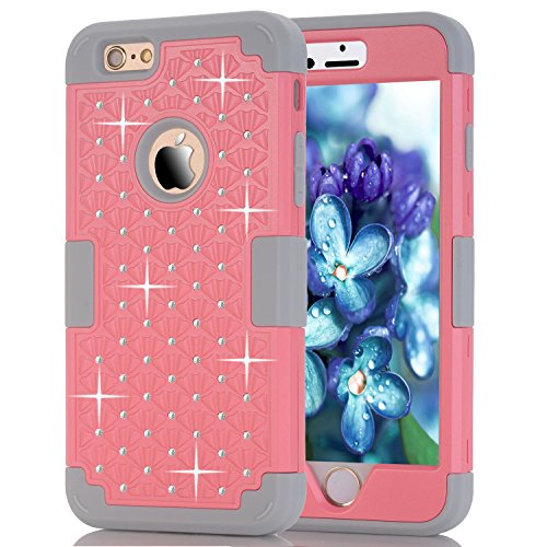 iPhone 6S Case,iPhone 6 Case,Anna Shop Studded Rhinestone 3in1 Shockproof Hybrid Full-body Protective Case Hard Cover PC+Silicone Full Body Protective High Impact Defender Cover For iPhone 6 6S (Iphone 6 3in1 Hard Hybrid Case compare prices)