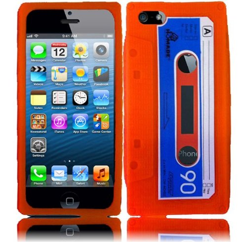 Cell Accessories For Less (Tm) For Apple Iphone 5 Cassette Silicone Skin Cover Case - Orange - By Thetargetbuys *Free Shipping*