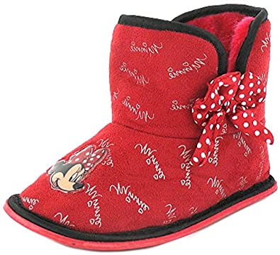 New Girls/Childrens Red Minnie Mouse Bootie Slippers, Polka Dot Bow. - Red/Black - UK SIZE 9