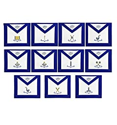 Masonic Blue Lodge Officers Apron Set of 11 Machine Embroided Aprons