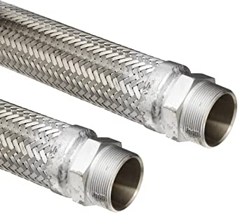 Hose Master Stainless Steel 321 Flexible Metal Hose Assembly, Stainless Steel 304 Hex NPT Male x Stainless Steel 304 Hex NPT Male