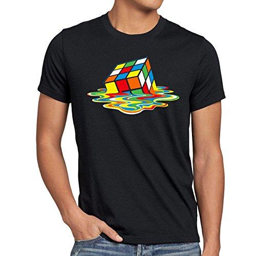 style3 Sheldon Cubo Magico T-Shirt da uomo, Dimensione:L;Colore:Nero