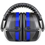 Fnova 34dB Highest NRR Safety Ear Muffs Shooter Hearing Protection, Certified. ANSI S3.19 & CE EN521, Compact, Adjustable Padded Head Band & Swivel Ear Cups with Soft Foam Fits Adults to Kids (Blue)