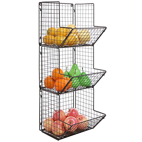 Rustic Brown Metal Wire 3 Tier Wall Mounted Kitchen Fruit Produce Bin Rack / Bathroom Towel Baskets (Chicken Wall Shelf compare prices)
