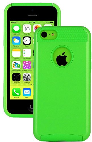 Mylife (Tm) Bright Lime Green Style 2 Layer (Hybrid Flex Gel) Grip Case For New Apple Iphone 5C Touch Phone (External Single Piece Full Body Defender Armor Rubberized Shell + Internal Gel Fit Silicone Flex Protector + Lifetime Waranty + Sealed Inside Myli