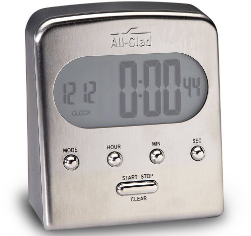 All-Clad T225 Stainless Steel Digital Timer and Clock with Blue LCD, Silver Reviews