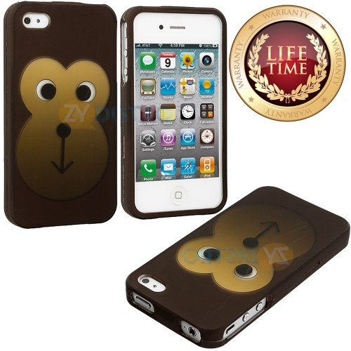 Mylife (Tm) Cute Brown Cartoon Monkey Series (2 Piece Snap On) Hardshell Plates Case For The Iphone 4/4S (4G) 4Th Generation Touch Phone (Clip Fitted Front And Back Solid Cover Case + Rubberized Tough Armor Skin)