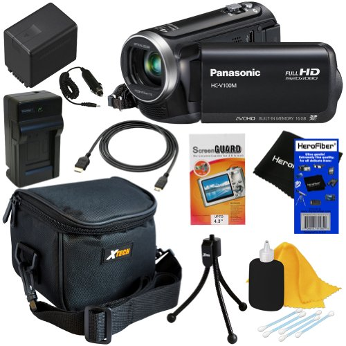 Panasonic HC-V100M 42x Intelligent Zoom SD Camcorder with 16GB Built in Memory (Black) + High Capacity Battery & AC/DC Charger + 6pc Bundle Accessory Kit w/ HeroFiber® Ultra Gentle Cleaning Cloth