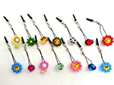 Dust Plug Phone Charm 14 pcs Flowers and Crystals for cell phone iPhone iPad mobile device tablet