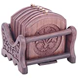 Sheela's Wooden Coasters ( Brown Color, STAND SIZE:4.5X3/COASTER 3.5X3.5 Inches)