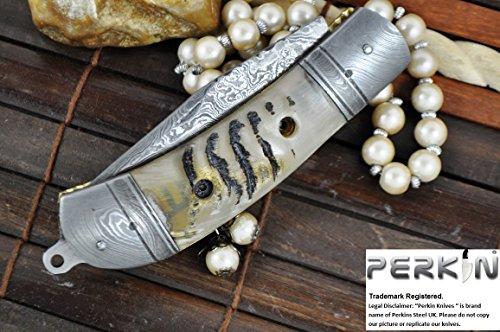 Handmade Damascus Folding Knife - Pocket Knife - Outstanding Value