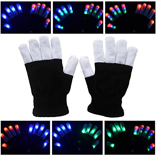 Soondar® LED Colorful Flashing Finger Lighting Gloves Glowing Unisex Gloves with Colorful Rave 7 Colors Light Show for Adult