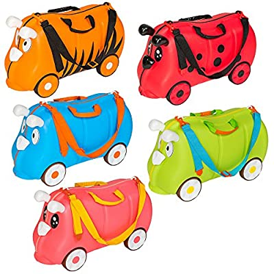TecTake Ride on suitcase hand luggage on rubber wheels for children kids - different colours - by TecTake