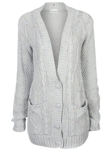 Ladies Long Cable Button Knitted Cardigan
