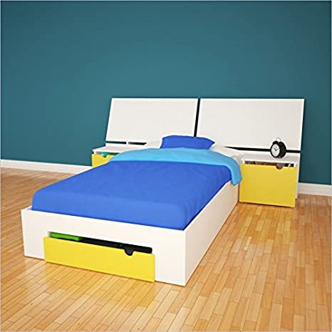 Nexera Taxi 2 Piece Twin Bedroom Set in White and Yellow