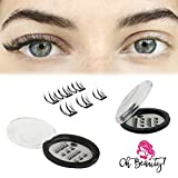 Oh Beauty! Triple Magnetic Eyelashes [No Glue] Premium Quality Reusable 3D Handmade False Eyelashes Set for Natural Look – Full Eye 3 magnets Ultra-Thin & Lightweight