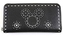 Disney Mickey Mouse Pattern Wallet Card, Cash, Coin Clutch Zipper with Gift Box (Black)