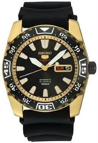 Seiko Herren- Sports Automatikuhr, Gold Tone Case, Kautschukband (Made in Japan) -SRP170J1