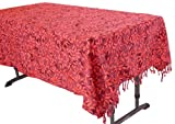 Squish Red Flower Coffee Table Tablecloth - Handcrafted Batik 100% Cotton