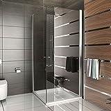 Duschabtrennung Dusche Eckeinstieg Drehtür Duschkabine rahmenlose Dusche Kage 90x90 x 195 cm / inkl. Glasveredelung Klappbar