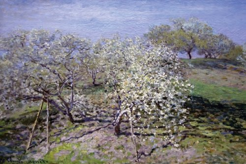 Spring Fruit Tees In Bloom, By Claude Monet, 12X18 Paper Giclée
