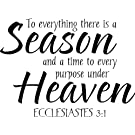 TO EVERYTHING THERE IS A SEASON AND A TIME TO EVERY PURPOSE UNDER HEAVEN ECCLESIASTES 3:1 RELIGIOUS Wall Art Cute Vinyl Wall Art Saying Decal Graphics Matte Black Wall Art Wall Sayings