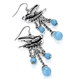 Bird Drop Pierced Fashion Earrings Burnt Silver & Blue