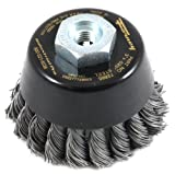 Forney 72865 Wire Cup Brush, Industrial Pro Twist Knot with M10-by-1.50/1.25 Multi Arbor, 3-Inch-by-.020-Inch