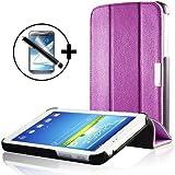 ForeFront Cases® - Étui en cuir synthétique avec support pour Samsung Galaxy Tab 3 8.0 8 Gb 3G + Wi-Fi - fermeture magnétique avec mise en veille automatique + stylet et film de protection pour écran - Violet