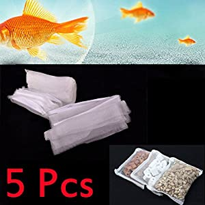 Easygoby 5x Aquarium ZIPPED Filter Media Net Mesh Bag fish tank zip up filter media bags
