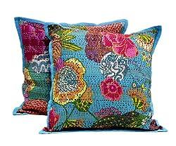 2 Blue Indian Handmade Pillowcase Kantha Floral Throw Pillow Cushion Cover