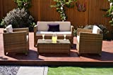 New 4 piece Grey, Light Brown Roma Rattan Garden Furniture Sofa set with Coffee Table and Chairs INCLUDES OUTDOOR PROTECTIVE COVER (Light Mixed Brown with Light Cushions)