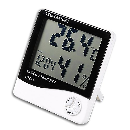 HDE Indoor Digital Humidity Meter Hygrometer Thermometer with Large LCD Display Temperature Alarm Clock - 1