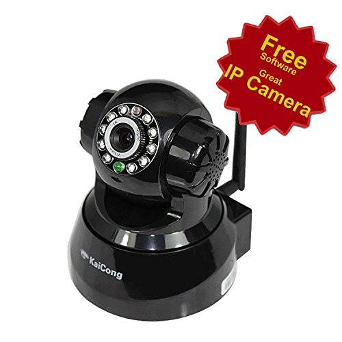 KaiCong Sip1018 Black Pan & Tilt IP Camera/Wifi/Motion Detection/Mobile View/Network Camera with 8 Meter Night Vision and 3.6mm Lens (67° Viewing Angle)
