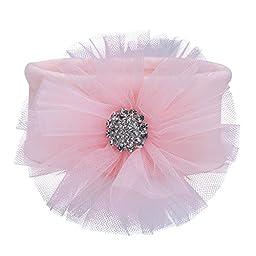 Elegant Baby Girl Tulle Bling Fairy Bow Topper Soft Knit Headband, Pink