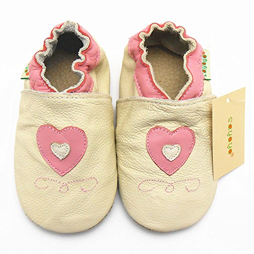 Sayoyo Baby Cute Hearts Soft Sole Leather Baby Shoes Baby Moccasins (18-24 months , Beige)